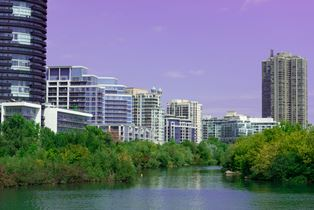 Landmark view at modern buildings near Humber Bay Park in Etobicoke, Toronto, Ontario, Canada
