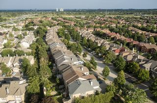 Bird's eye view of houses and neighbourhoods in Mississauga, Ontario, Canada